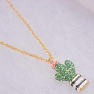 Full Diamond Enamel Color Glaze Cactus Necklace